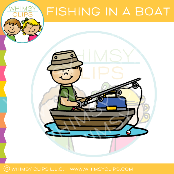 Fishing in a Boat Clip Art