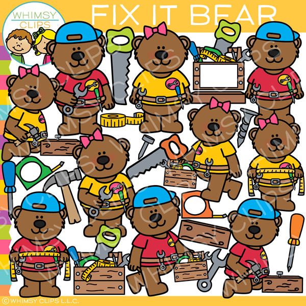 Handy Fix It Bear Clip Art