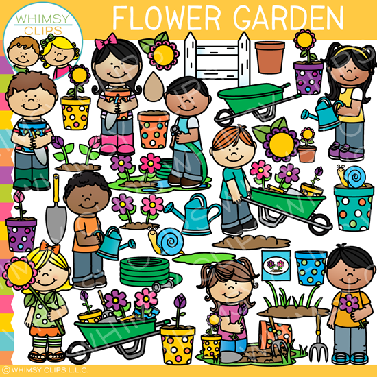 Kids in the Flower Garden Clip Art