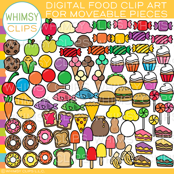 Moveable Food Clip Art for Paperless Resources