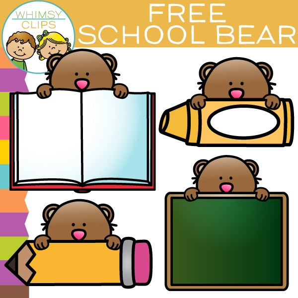 Free School Bear Clip Art