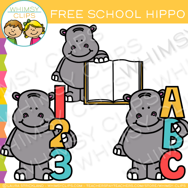 Free Back-to-School Hippo Clip Art