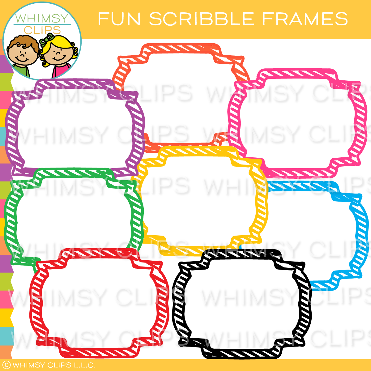 Fun Scribble Frames Clip Art