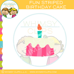 Fun Striped Birthday Cake Clip Art