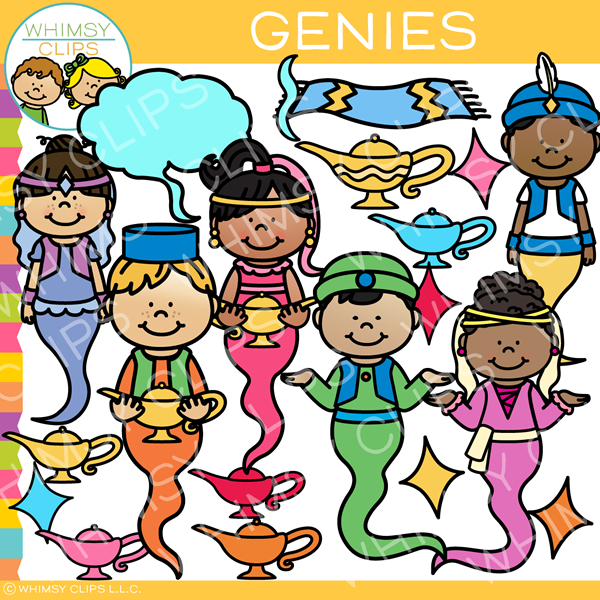 Colorful Genie Clip Art
