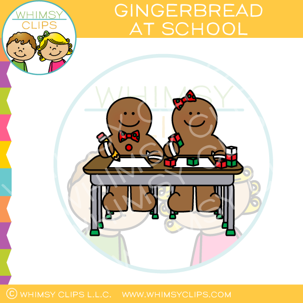 Gingerbread at School Clip Art
