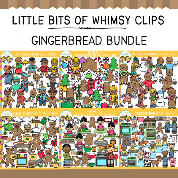 Little Bits of Whimsy Clips: Gingerbread Clip Art GROWING Bundle