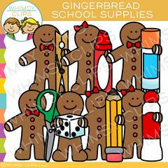 Gingerbread School Supplies Clip Art