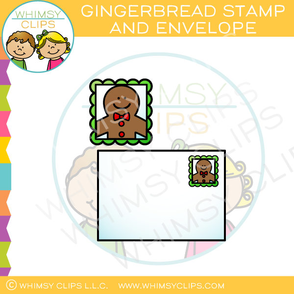Gingerbread Stamp and Envelope Clip Art