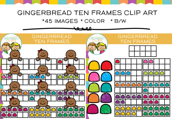 Gingerbread Ten Frame Clip Art