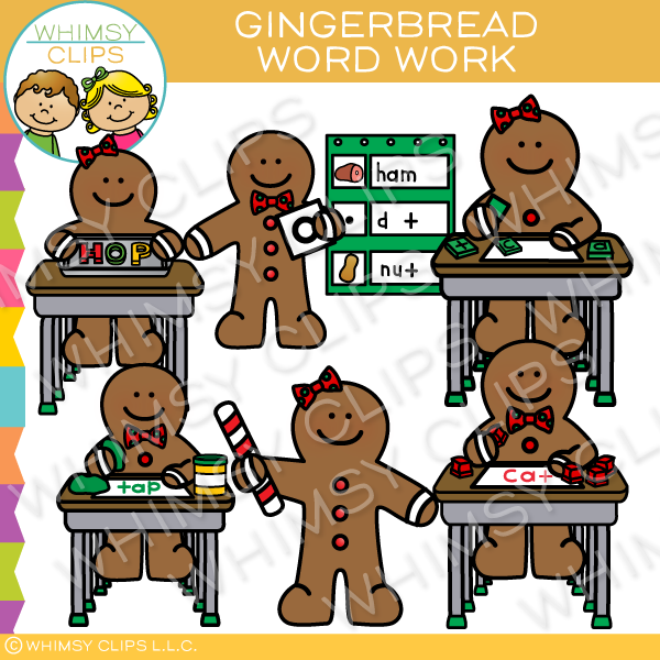 Gingerbread Word Work Clip Art