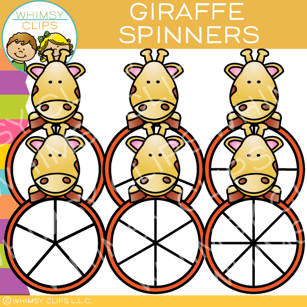 Fun and Silly Giraffe Spinners Clip Art