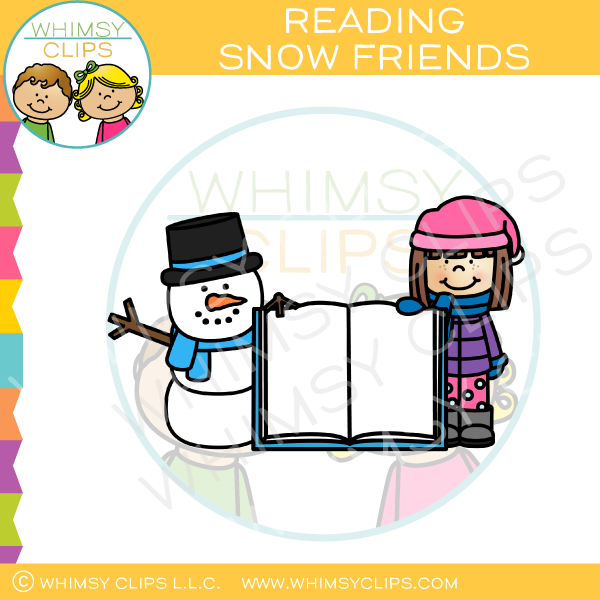 Girl And Snowman With An Open Book Clip Art