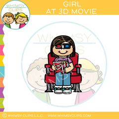 Girl At 3D Movie Clip Art