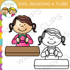 Girl Bending a Tube Clip Art