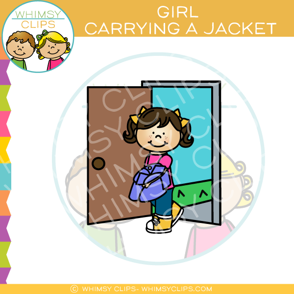 Girl Carrying a Jacket Clip Art
