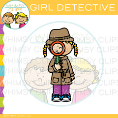 Girl Detective With Magnifying Glass Clip Art