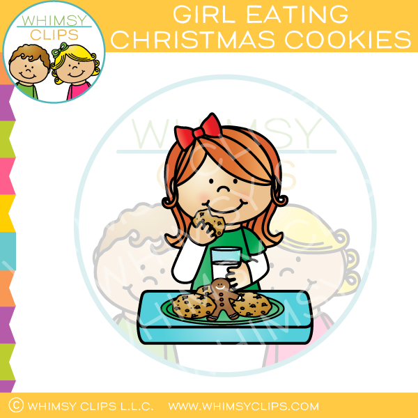Girl Eating Christmas Cookies Clip Art