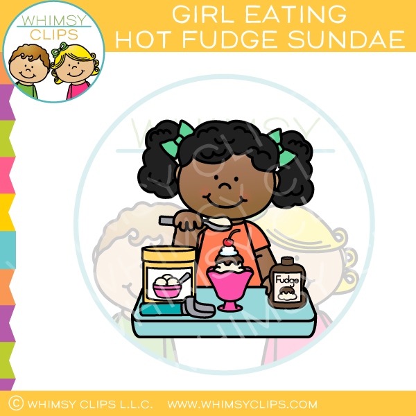 Girl Eating Sundae Clip Art