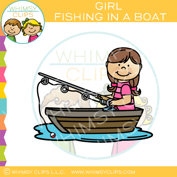 Brown-Haired Girl Fishing in a Boat Clip Art
