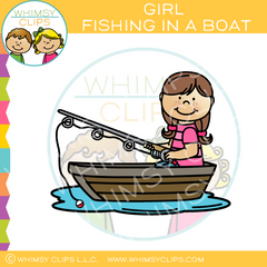 Girl Fishing In A Boat Clip Art