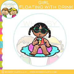 Girl Floating With Drink Clip Art