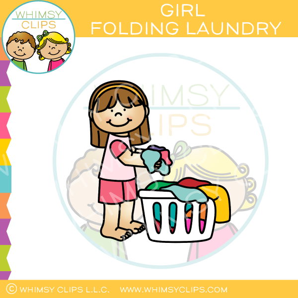 Girl Putting Laundry in Basket Clip Art