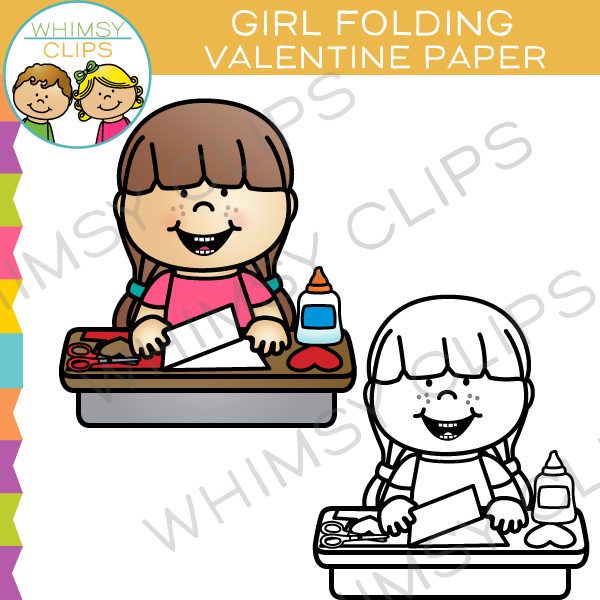 Girl Folding Valentine Paper Clip Art