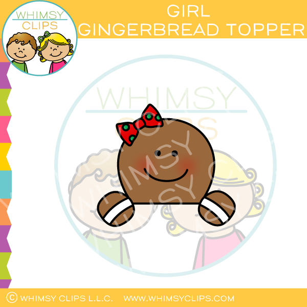 Girl Gingerbread Topper Clip Art