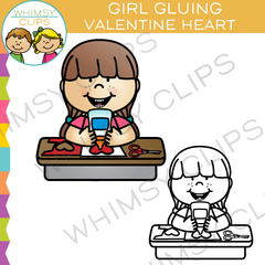 Girl Gluing a Valentine Heart