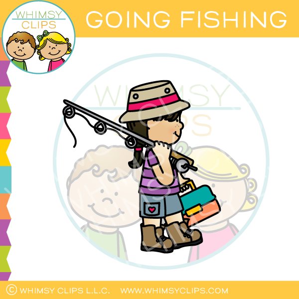 Girl Going Fishing Clip Art