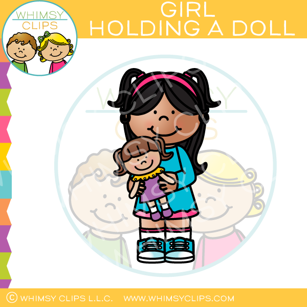 Girl Holding A Doll Clip Art