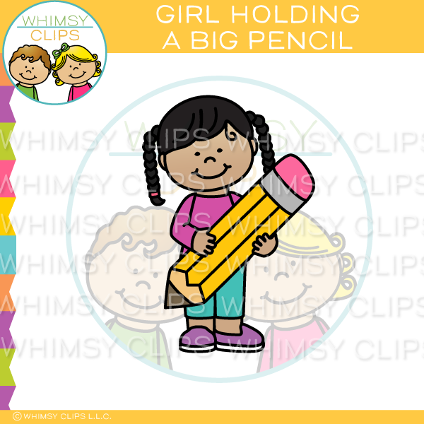 Girl Holding A Big Pencil Clip Art