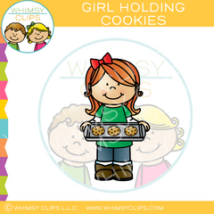 Girl Holding Cookie Sheet Clip Art