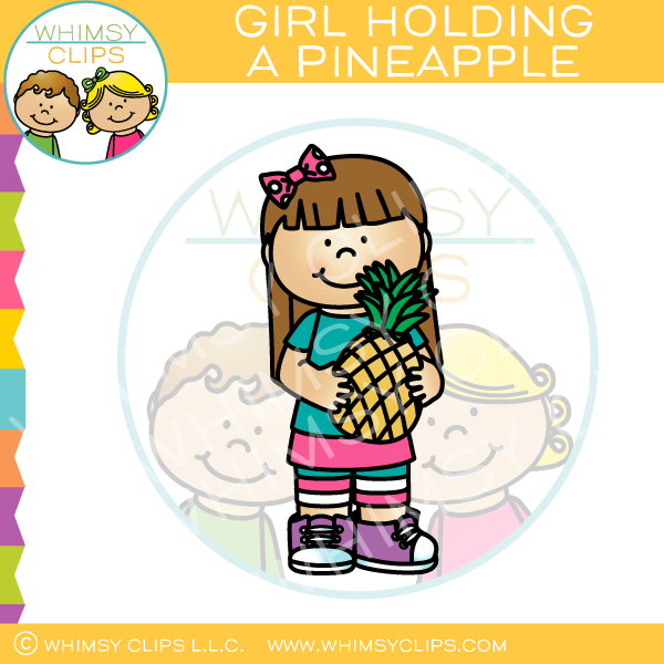 Girl Holding a Pineapple Clip Art