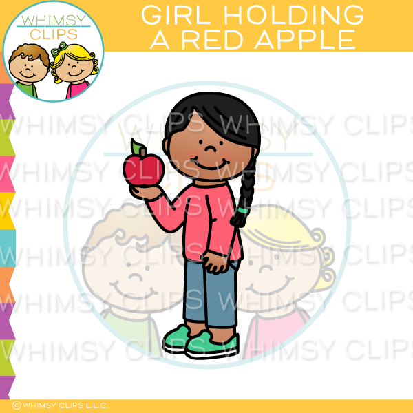 Girl Holding A Red Apple Clip Art
