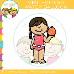 Girl Holding Water Balloon Clip Art