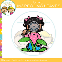 Girl Inspecting Leaves Clip Art