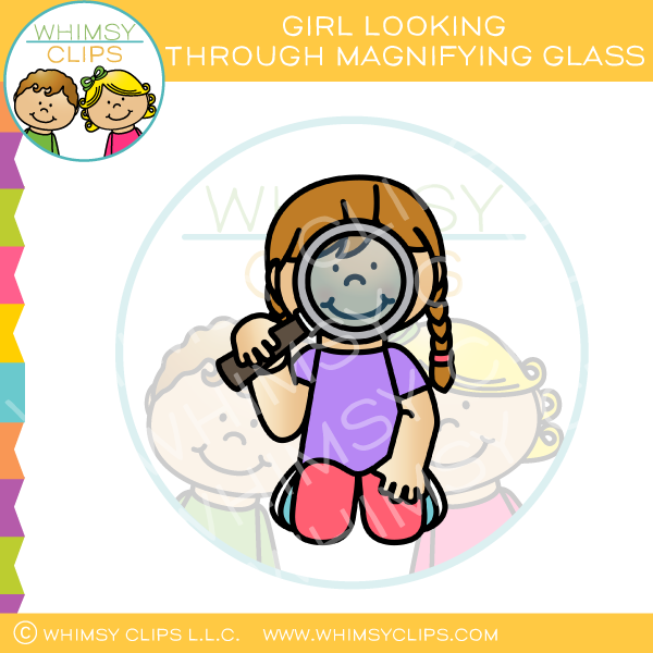 Girl Looking Through Magnifying Glass Clip Art