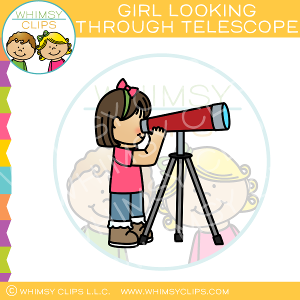 Girl Looking Through Telescope Clip Art