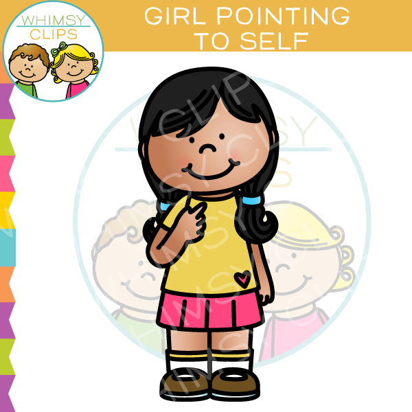 Girl Pointing To Self Clip Art