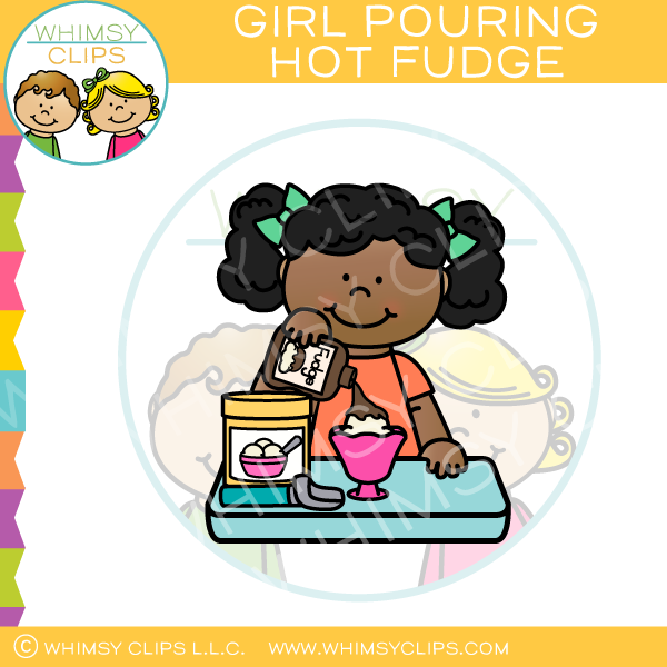 Girl Pouring Hot Fudge Clip Art