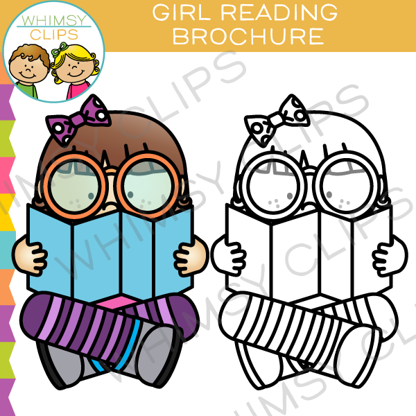 Girl Reading a Brochure Clip Art