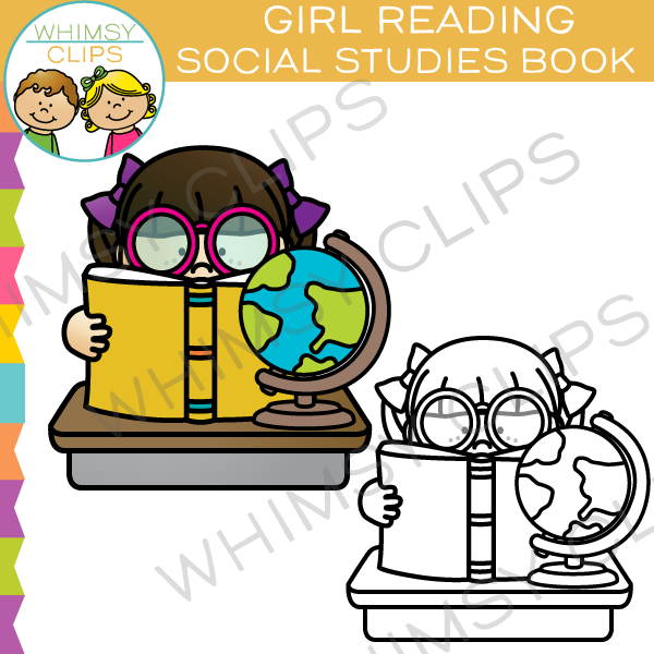 Girl Reading Social Studies Book Clip Art