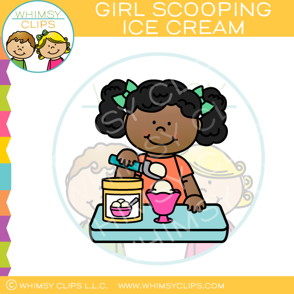 Girl Scooping Ice Cream Clip Art