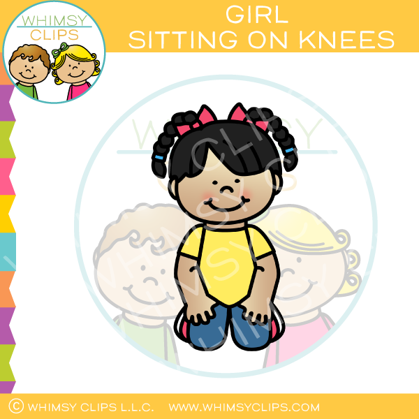 Girl Sitting On Knees Clip Art