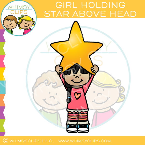 Girl Holding Star Above Head Clip Art
