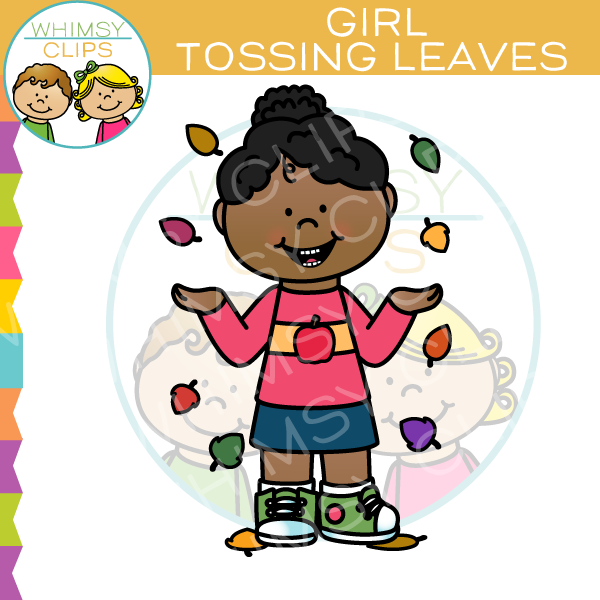 Girl Tossing Leaves Clip Art