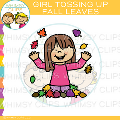 Girl Tossing up Fall Leaves Clip Art