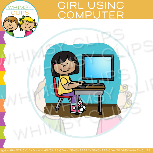 Scene of School Girl Using Computer Clip Art